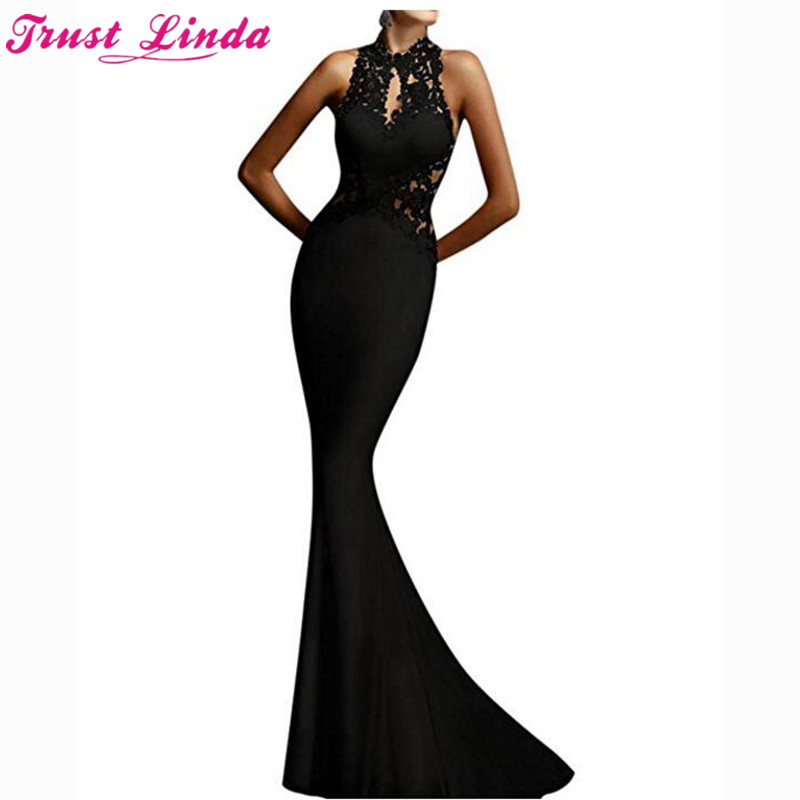 Sexy Halter See Through Top Women's Mermaid   Bridesmaid     Dresses   2018 Glamorous Black Appliques Prom Gowns Party   Dress   Custom Made