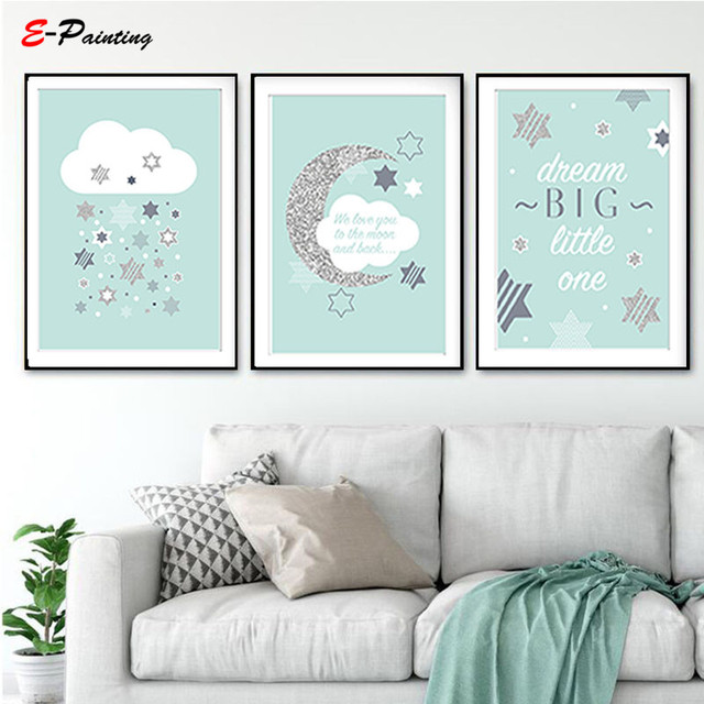 Modern Canvas Art Nursery Baby Prints We Love You To The Moon Cloud Mint Grey Star