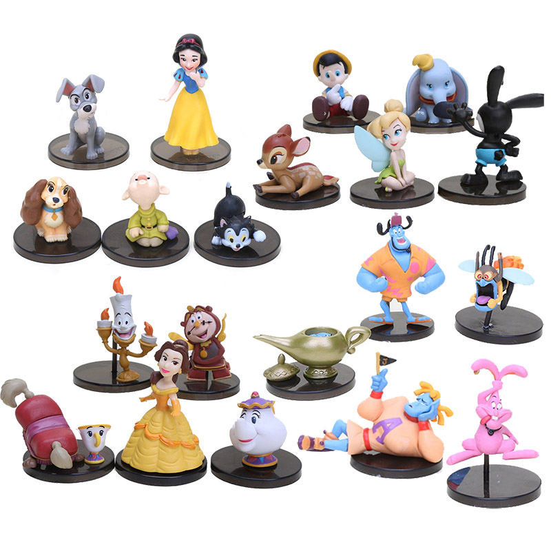 20pcs WCF Classic Characters Snow White Dopey Figaro Peter Pan Oswald Bambi PVC Figures Toys