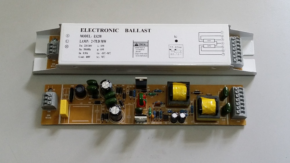 220V electronic ballast 55w 58w 2x55W and 2x58W  T8   electronic ballast for fluorescent lamp  ac 55w ballast d2s