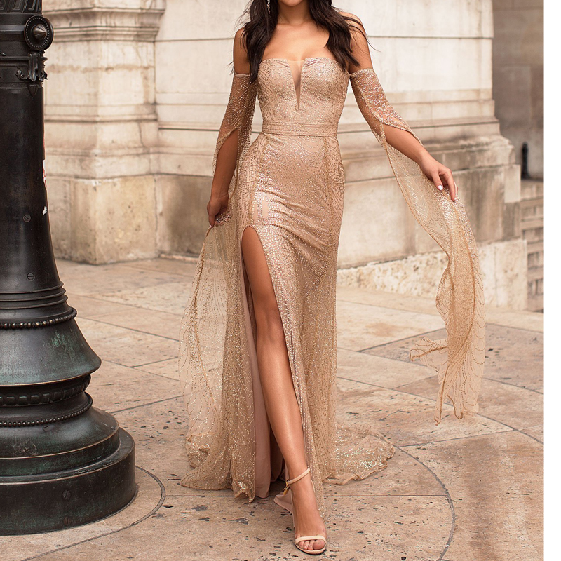 Floor Length Sleeve Celebrity Dress Hollow Out Off The Shoulder Evening Dress Split Leg Gold Glittered Boat Neck Maxi Dress