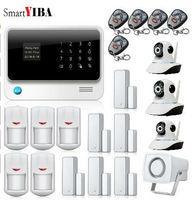 SmartYIBA WIFI Smart Home Alarm IOS APP Control GSM GPRS Alarm+3pcs Surveillance Cameras+ Infared PIR Motion Detection System