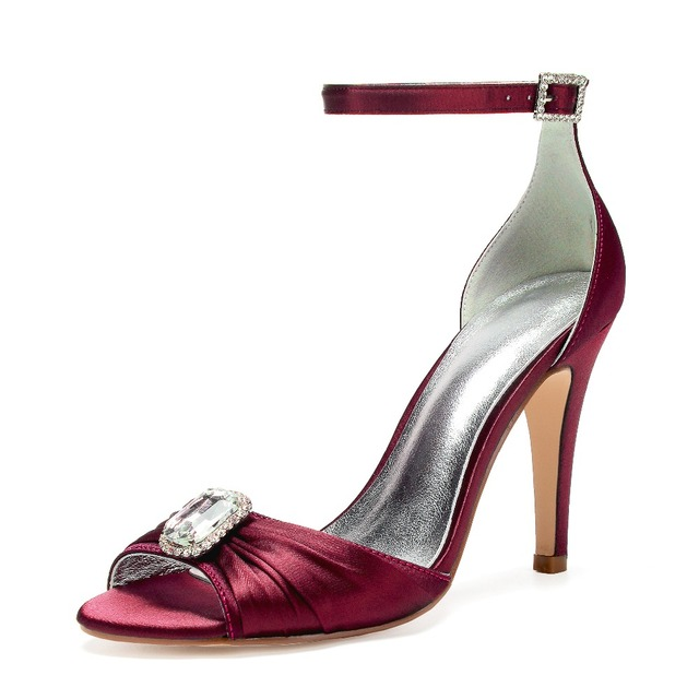 Eggplant satin evening dress shoes sandals lady s pumps ankle strap high  heels with square crystal brooch bridal wedding prom fcc72dc6198f