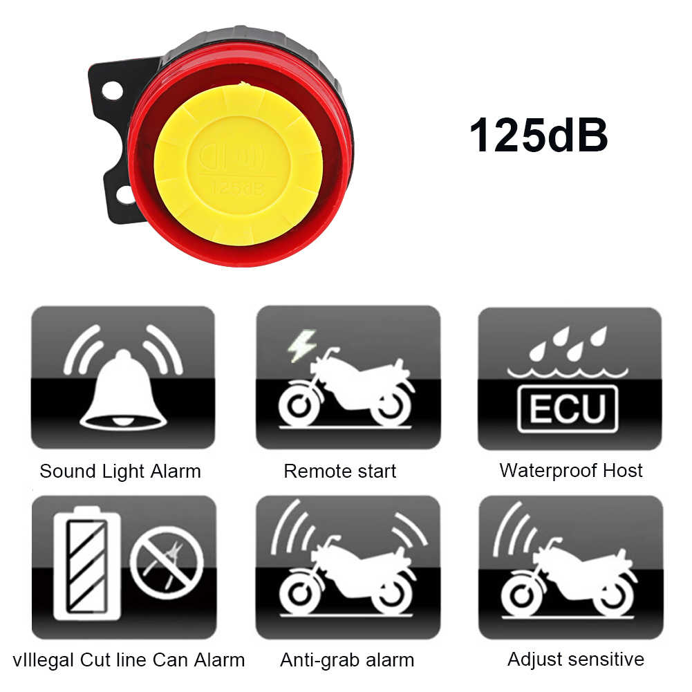 1 مجموعة 12 فولت دراجة نارية مكافحة سرقة نظام إنذار أمان سكوتر 125db مفتاح تحكم عن بعد قذيفة المحرك بدء دراجة نارية المتكلم