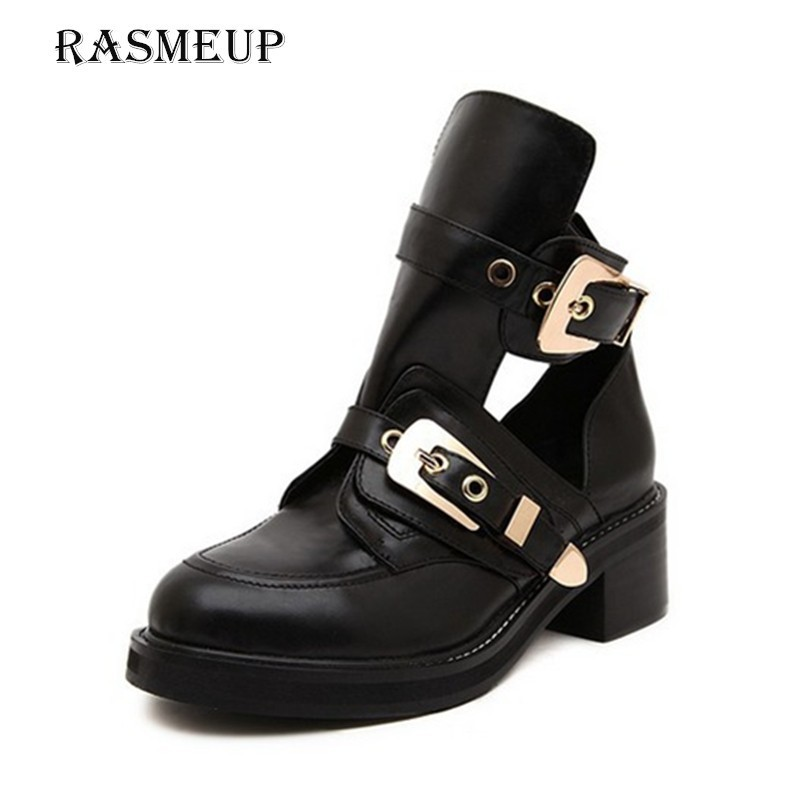 RASMEUP Buckle Ankle Boots For Women 2018 Fashion Brand Low Heel Shoes Woman Motorcycle Boots Spring Autumn Women's Boots Gold rasmeup women chelsea boots autumn winter elastic band ankle boots shoes low square heel martin boots vintage fashion boots