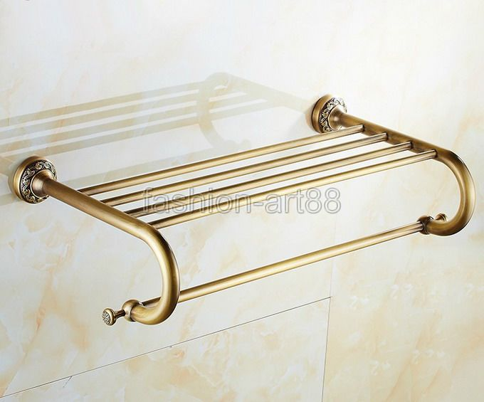 ФОТО Bathroom Accessory Antique Brass Wall Mounted Bathroom Towel Rail Holder Storage Rack Shelf Bar  Bathroom Fitting aba484