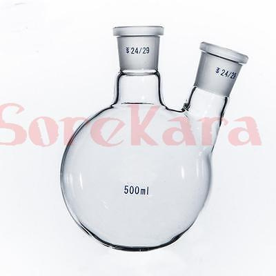 500ml Laboratory Borosilicate Glass 24/29 Joint Glass Flask round bottom with two necks Graduated graham condenser 300mm length 24 29 joint 10mm hose connection laboratory instrument