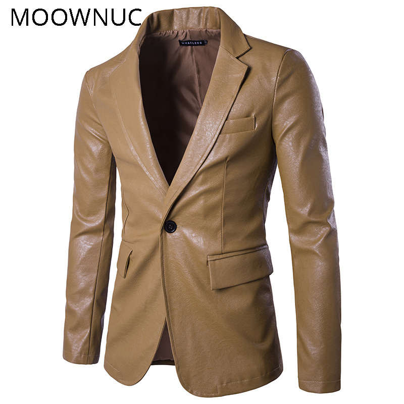 Hombre Coats 2019 Blazers Men's Jacket Masculino Men's Suit Jackets Solid PU Fashion Slim Fit Solid Smart Casual New MOOWNUC MWC