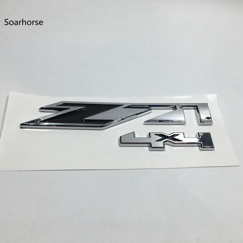 2pcs 4x4 Letter Emblem Nameplate 3D Badge Decal Script Fender Door Silver Fit For Chevy Silverado GMC Sierra Chrome