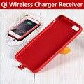 2 en 1 caja del teléfono de cuero de lujo para el iphone 6/6 Plus Con Receptor Cargador Inalámbrico Qi Adaptador Del Receptor de Carga Trasera cubierta