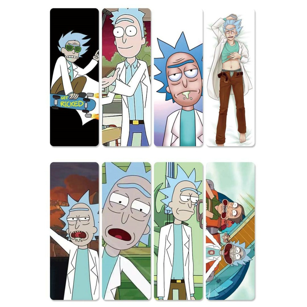 8pcs Rick And Morty Anime Bookmarks Waterproof Transparent PVC Plastic Bookmark Beautiful Book Marks Gift