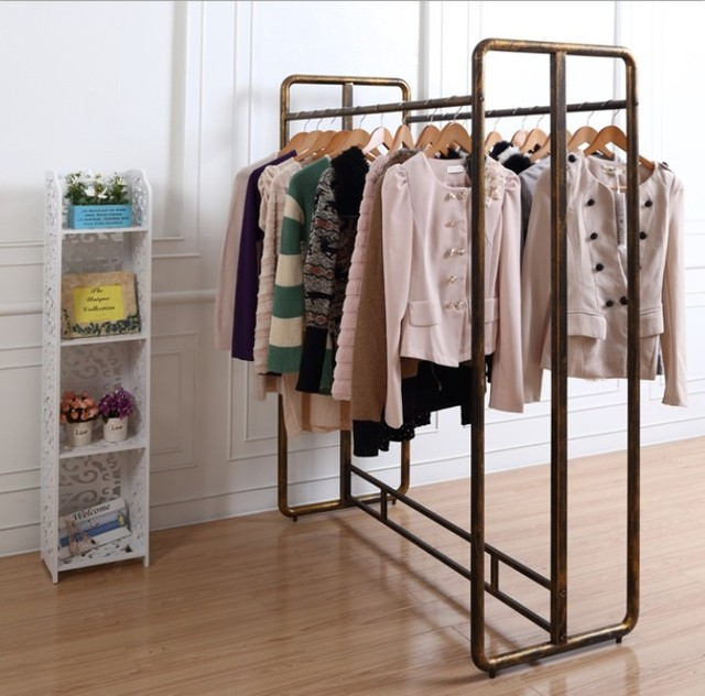 Wrought Iron Clothing Rack Shelf Store Window Decoration Double Rod Clothes In The