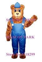 mascot Billie Bear with Overalls & Hat Mascot Costume Theme Anime Cosplay costumes Carnival Fancy dress Fursuit Kits