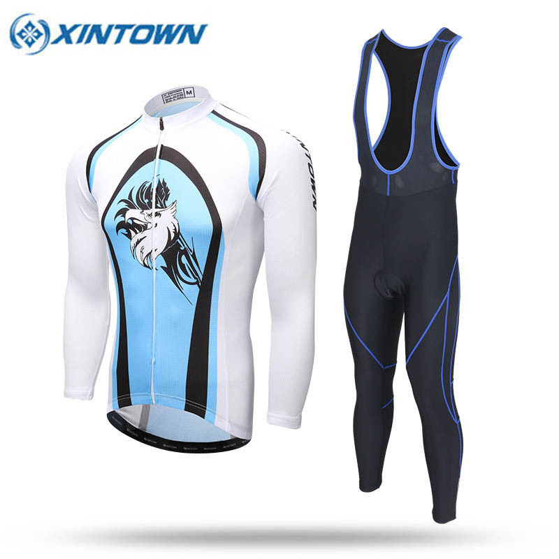 2018 Long Sleeve Cycling Jersey Sets Breathable 3D Padded Sportswear Pro Team Mountain Bicycle MTB Bike Blue Cycling Clothing wosawe pro long sleeve cycling jersey sets breathable 3d padded sportswear mountain bicycle bike apparel cycling clothing fcfb