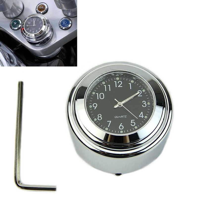 "4.5* 3.0cm Motorcycle Bike Chrome Black Dial 7/8"" 1""Handlebar Clock Glow Watch Universal Motorbike Accessories"