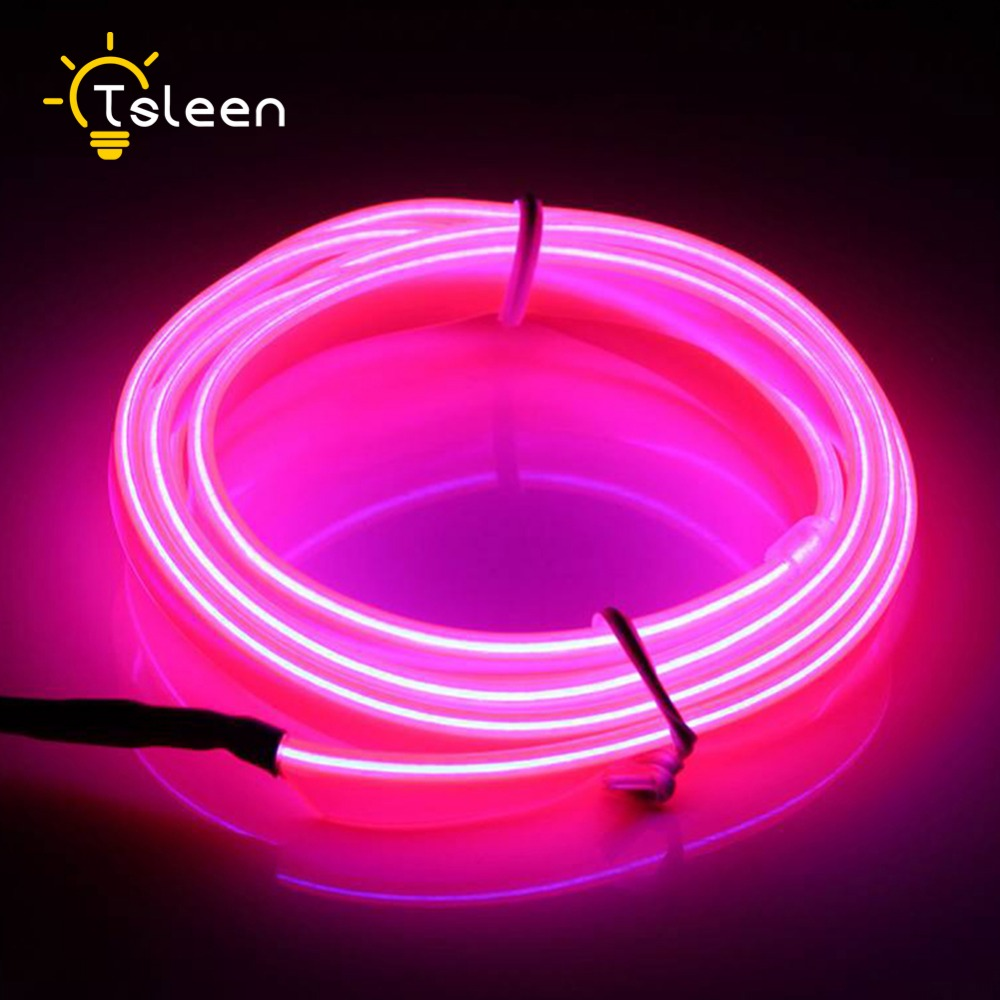 tsleen cheapnew hot 3m portable neon 3v battery el wire led light bar decor lamp camping decorations
