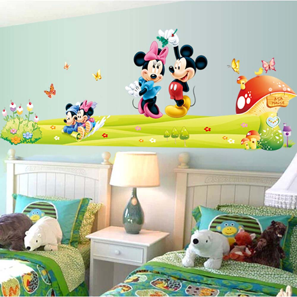 popular mickey window decal buy cheap mickey window decal lots mickey mouse wall sticker for kids bedroom decor 3d declas removable nursery wall decals for children