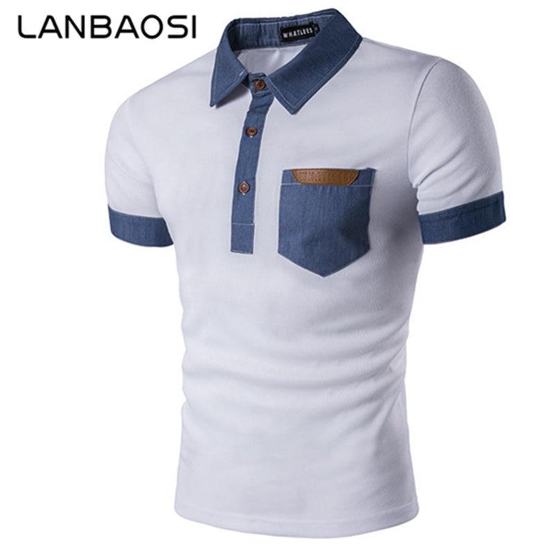 LANBAOSI Mens Denim Costura Camisa Polo Novo E Elegante Casual Magro Fit  POLO Branco Camisas de Manga Curta Top Tees com Cowboy bolso 8baabec7fe92a