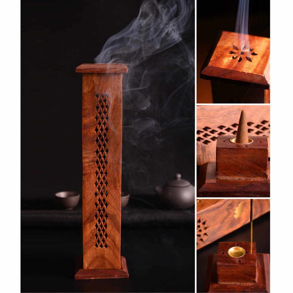חליל מגדל סוג מבער קטורת הודי בעבודת יד אלגום עץ מקל קונוס קטורת בעל להשתמש בבית משרד