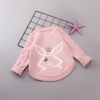 Autumn Winter Casual Boys Knitting Diamond Check Cartoon Bow Rabbit Keep Warm Pullovers Sweater Y2581