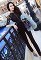 La ropa de encargo de gama alta en el verano de 2016 con una estrella de la mujer de encaje de manga negro mono sin espalda temperamento