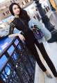 The clothes of high-end custom in the summer of 2016 with a woman's star sleeve lace black Jumpsuit backless temperament