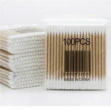 100 шт./упак. бамбук ватных палочек для чистки ушей деревянные палочки макияж зеркало здоровья toolcotton тампоны медицинское наблюдение тампоны Cotonete