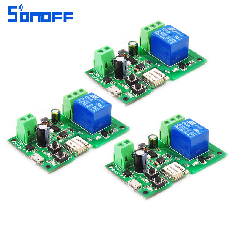 3 pièces DC 5 V 12 v 24 v 32 V Sonoff WiFi commutateur intelligent bricolage relais maison intelligente via ios Android téléphone Module d'automatisation à distance