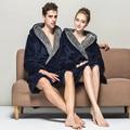 Plus Size Deep Blue Women Men Gown Towel Bath Robe Hooded Robe Women Men Bathrobes Flannel Fiber Polyester Nightgown