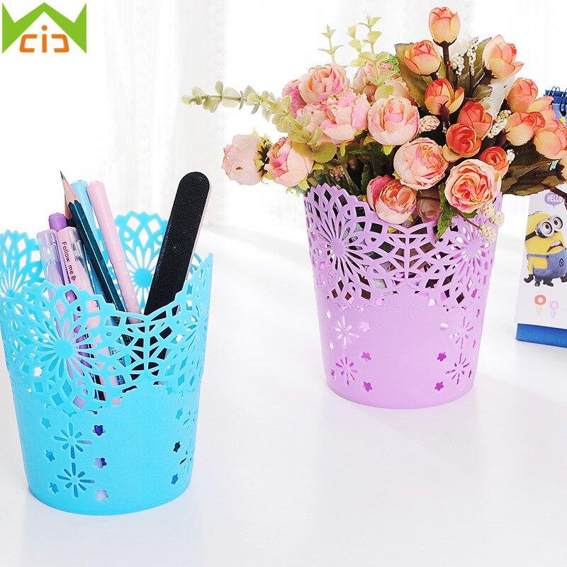 WCIC Plastic Lace Hollow Out Flowers Basket Makeup Brush Holder Artificial Flower Vase Plant Pot Pen Container Garden Planter