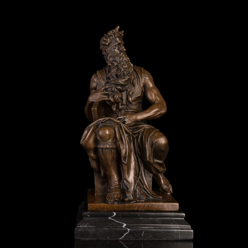Arts Crafts Copper Hand Crafted Greek mythology statues religious bronze Moses statue sculpture signed by Michel Angelo Christma