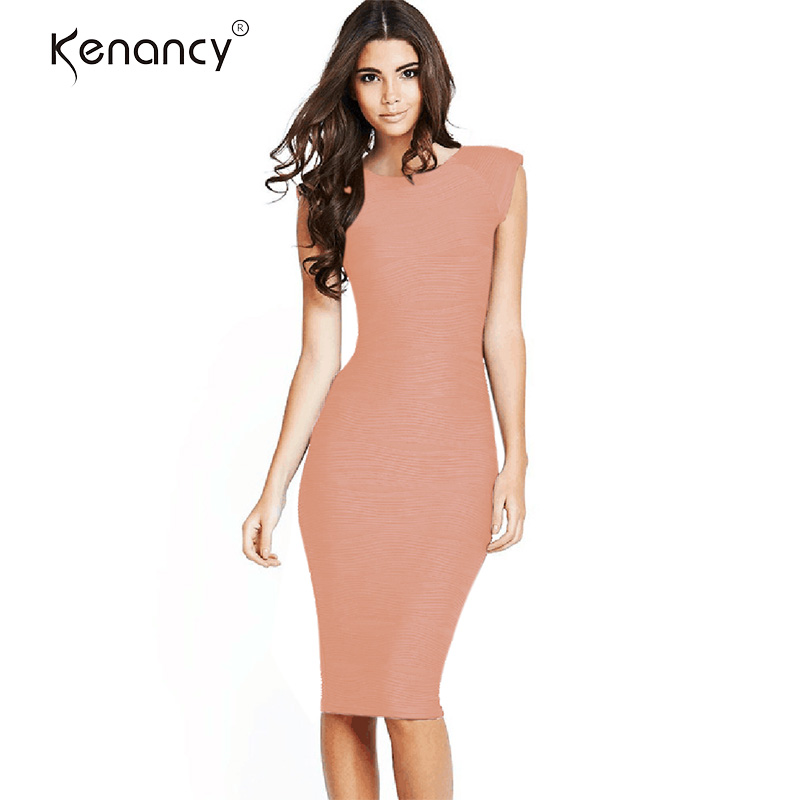 Kenancy Special Pleated Fabric Sexy V Back Sleeveless Party Dress Women Solid Knee Length Bodycon Vestidos Elegant 6 Colors gown
