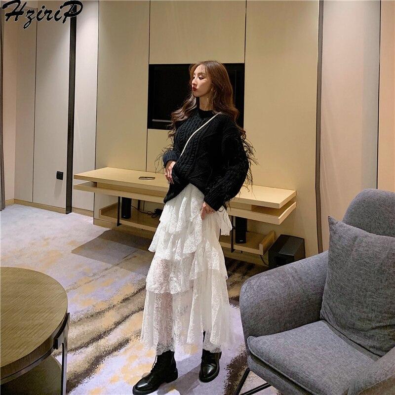 Hzirip Women Spring A-Line Skirt 2019 Elastic High Waist Mid-Calf Skirts Loose Solid  Elegant Skirts Womens Casual Sweet Simple