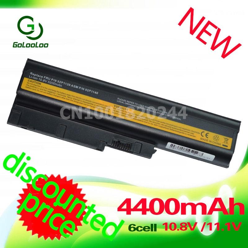 Batteria portatile Golooloo 4400MAH per Lenovo / IBM Thinkpad Z61 R61 R60 Z60 92P1140 T60 92P1138 42T5233 40Y6799 Prezzo speciale !!