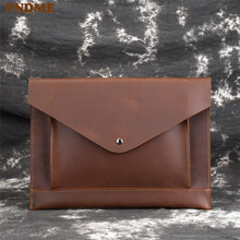 PNDME retro simple genuine leather mens clutch bag casual crazy horse cowhide 9 inch ipad phone big envelope