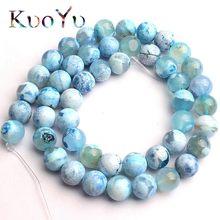 Perles en pierre naturelle, Dragon de feu bleu, Agates, rondes, amples, pour la fabrication de bijoux, Bracelet et collier, 15 pouces, 6/8/10mm