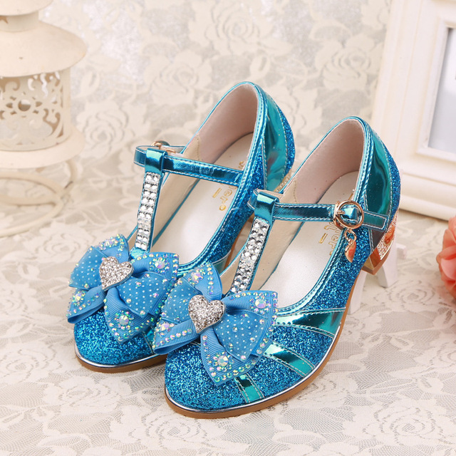 Autumn/Spring Children Leather Shoes For Girls High-Heeled Shoes Fashion Princess Sinlge Shoes With Bow Kids Baby Party Shoes