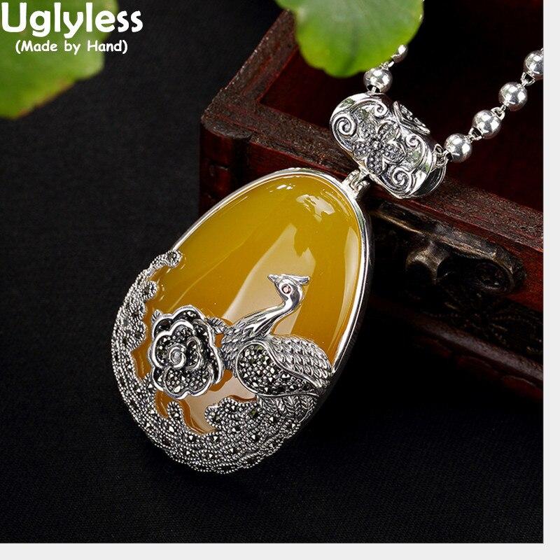 Uglyless réel 925 argent Sterling naturel calcédoine pendentif sans collier femmes rétro Phoenix Bijoux pivoine Marcasite Bijoux