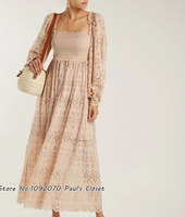 Women Pale Pink Bayou Blouson Broderie Anglaise Cotton Blend Maxi dress