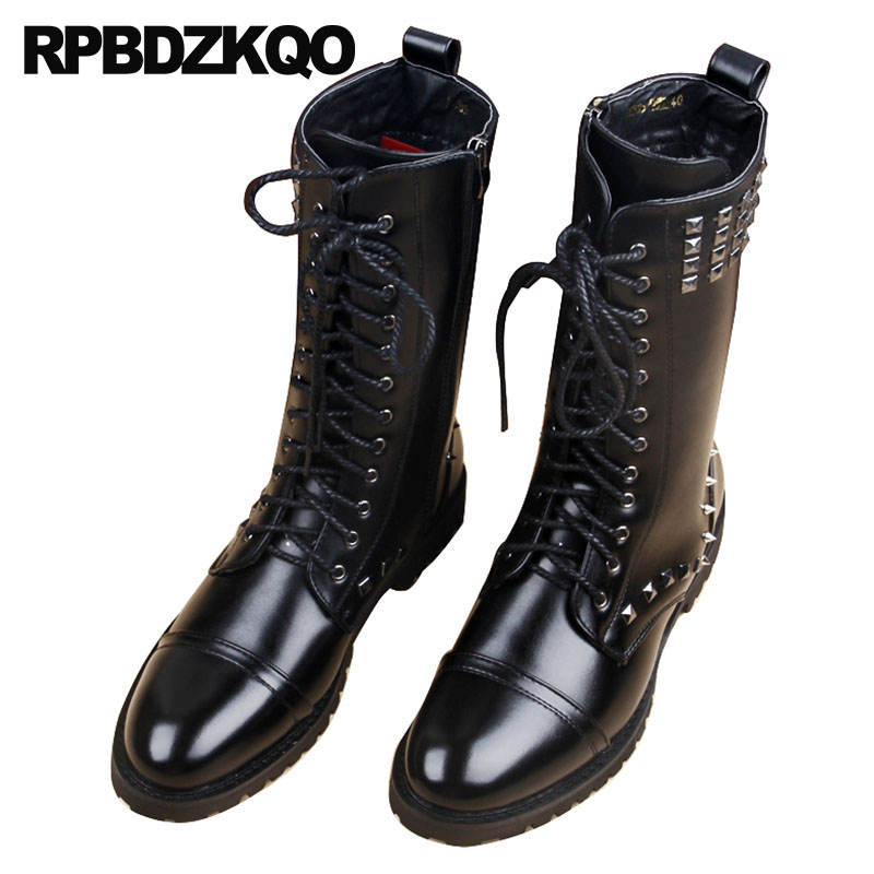 Motorcycle Metalic Mid Calf Men Winter Rock Shoes Black Stud Vintage Boots Faux Fur Punk Tall Designer Fashion Lace Up Rivet недорго, оригинальная цена