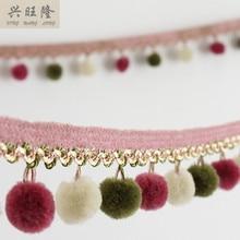 ФОТО new 14m/lot 6 color pompons curtain lace accessories drapery tassel fringes trim ribbon diy sewing sofa textile decor fabrics