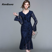 RENBANG 2018 Spring Trumpet / Mermaid mesh Lace Dress Women Retro Slim Sexy Office Runway Vintage Party Slim Vestidos