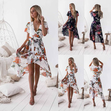 Hot Women Summer Boho Style Midi Dress Sexy V-Neck Casual Floral Beach Dresses Print Sundresses