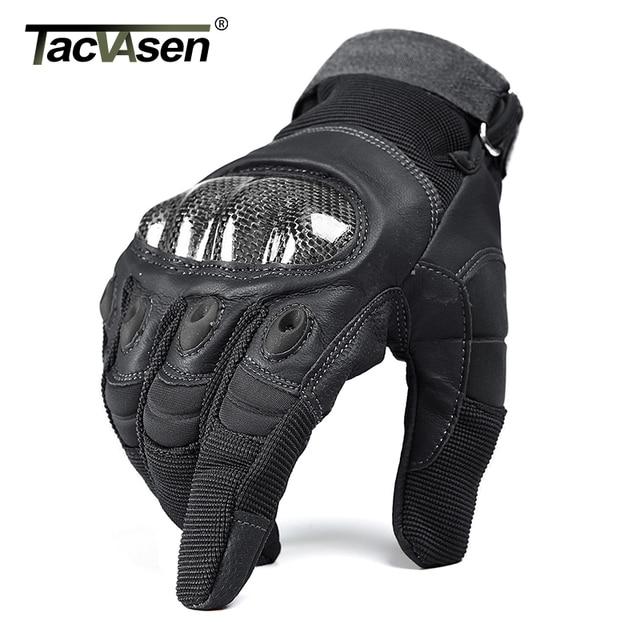 TACVASEN Military Tactical Gloves Men's Gloves Hard Shell Full Finger Gloves Airsoft Anti-slip Paintball Leather Gloves 4