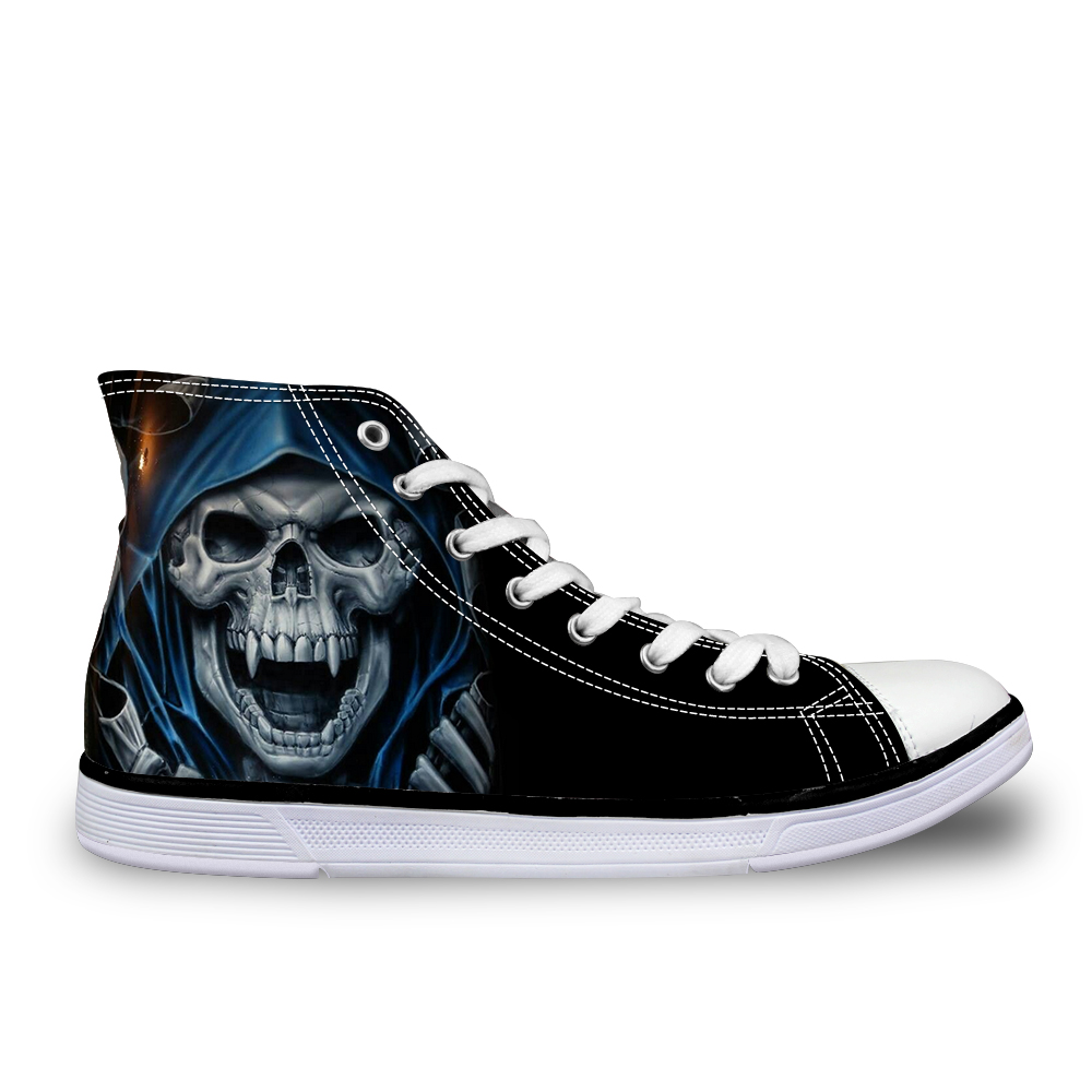 ФОТО Fashion Brands Punk Skull Head mens Shoes Teenage boys High-top Canvas Shoes Zapatillas Deportivas Mujer Flats Casual Shoes men