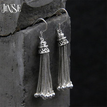 JINSE S925 Pure Silver Long Tassel Earrings for Women Bohemian Lovely Bead Charms Earring Fashion Jewelry Bijoux Femme