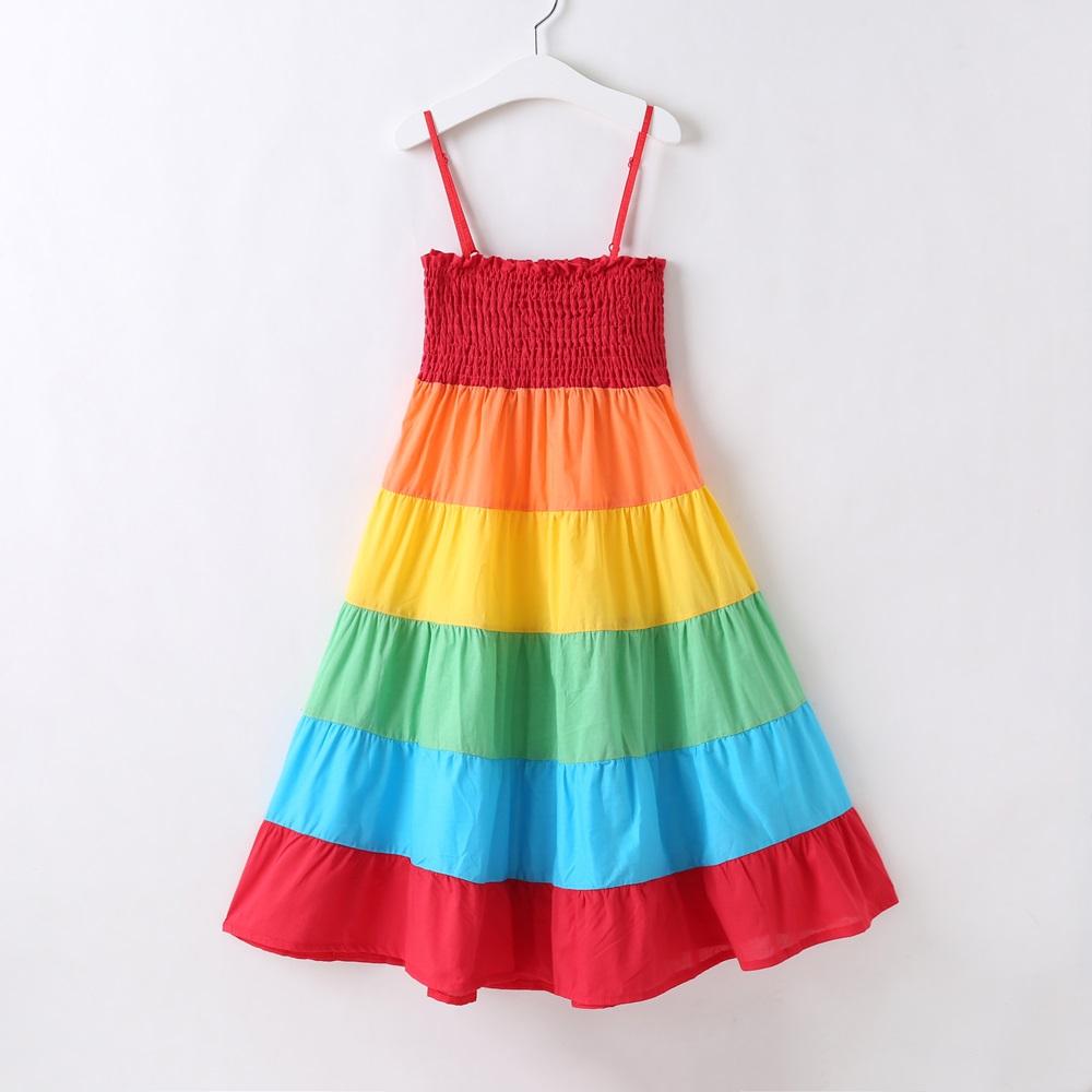 New Baby Girl Dress Clothes Toddler Kids Girls Princess Clothes Sleeveless Chiffon Tutu Rainbow Sling Dresses Vestido Infantil