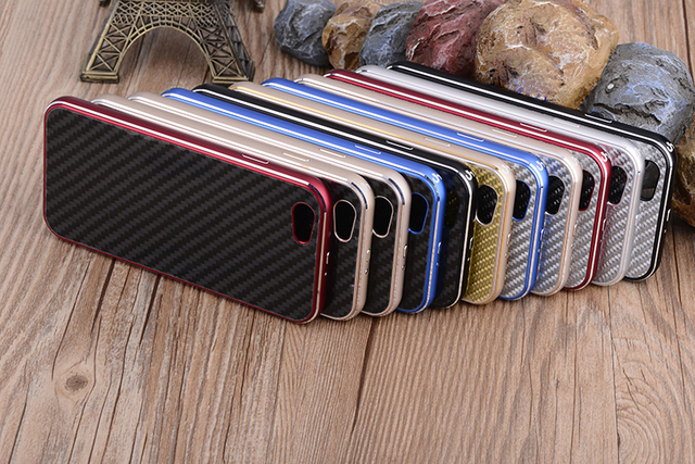Aluminum Bumper For Apple iPhone 6 6s and  6 6s Plus Real Carbon Fiber Back