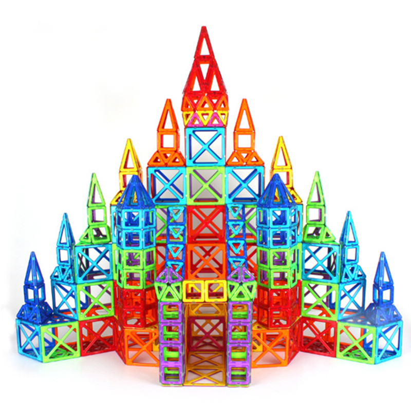 Aocoren Kids Toys 90PCS Magformers Bricks Educational Magnetic Designer Toy Square Triangle Hexagonal 3D DIY Building Blocks tri fidget hand spinner triangle metal finger focus toy adhd autism kids adult toys finger spinner toys gags