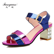 FANYUAN New Gladiator Women Genuine Leather Sandals Crystal High Heels Mix-color Fashion Shoes Woman Female Wedding Party Sandal цены онлайн